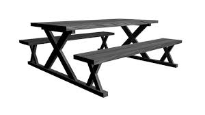 Poly Picnic Tables by Picnic Table With Black Wood Texture 3d Model Cgtrader