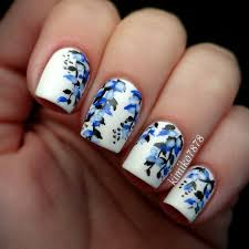 nail design blue floral nail art nails pinterest floral