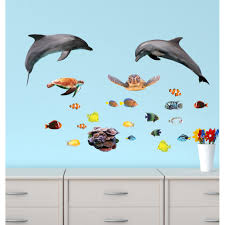 ocean wall decals photo wall decals mini dolphin wall stickers with tropical fish decals