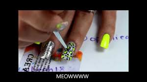 bright yellow cheetah nail design tutorial youtube