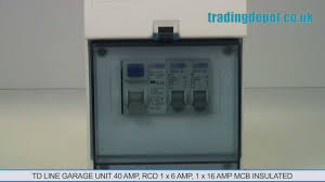 trading depot tdline garage unit 40amp rcd 1x6amp 1x16amp mcb