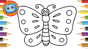 how to draw a butterfly for kids simple drawing game animation