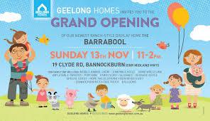 Family Day Invitation Card Grand Opening Barrabool Display Sunday 13th November Geelong Homes