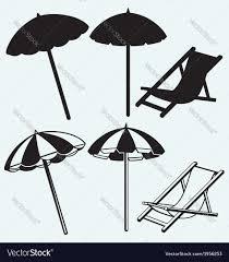 Beach Umbrella And Chair Chair And Beach Umbrella Royalty Free Vector Image