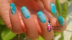 white lace nail art with water slide decals