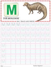 capital letter writing practice worksheet alphabet m download