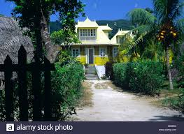 old french colonial house and tropical garden la digue seychelles