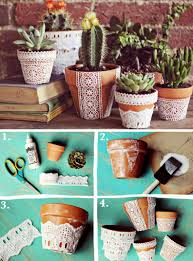 diy pretty lace flower pots plants u0026 garden pinterest lace
