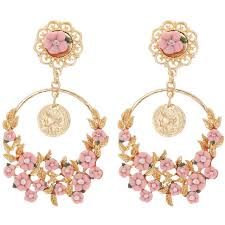 womens earrings women s fashion earrings white pink small flower leaf
