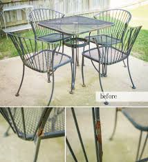 How To Paint Wrought Iron Patio Furniture by Redoing A Rod Iron Spray Painting A Rod Iron Patio Set Creative