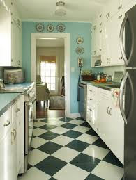 Retro Style Kitchen Cabinets Light Blue Kitchen And Black And White Floor Patern Checkerboard
