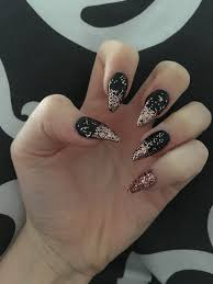 black and rose gold stiletto nails nail love pinterest