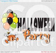 halloween party png cartoon of a jackolantern pumpkin with balloons and halloween