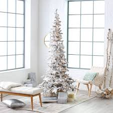 flocked white slim pre lit led tree hayneedle
