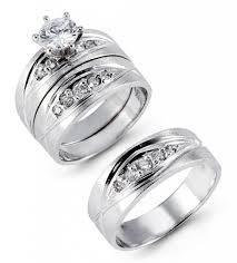 wedding trio sets 14k solid white gold wide band cz wedding trio bridal