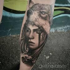 with wolf headdress tattoos headdress
