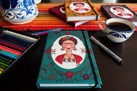 frida kahlo with flowers notebook