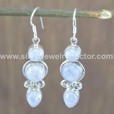 designer earrings moonstone wholesale jewelry 925 sterling solid silver designer