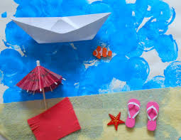 pinterest bricolage enfant vacances tableau collage plage enfants activité manuelle peinture