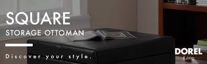 amazon com dorel living faux leather square storage ottoman