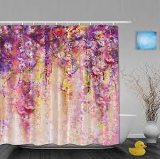 Amazon Com Shower Curtains - amazon com art printing spring secenry pink floral waterfall