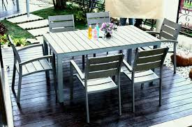 outdoor furniture design using grey color with wooden material in