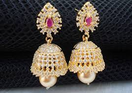 kerala style jhumka earrings gold plated pink n white studded jhumka style earring