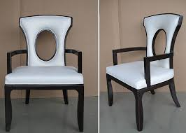 upholstered modern white leather dining room chairs with hole back