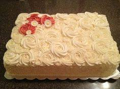 modern baby shower sheet cakes pink buttercream rosette sheet