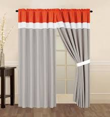 Orange And White Curtains 4 Coral Orange Grey And White Curtain Set With