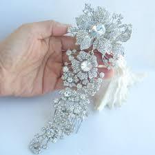 hair broach bridal hair accessories wedding hair comb 7 28 inch silver tone