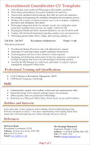 Sample Hr Coordinator Resume by Recruitment Coordinator Cv Template Tips And Download Cv Plaza