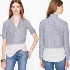 j crew blouses j crew gingham striped popover shirt plaid check blouse half