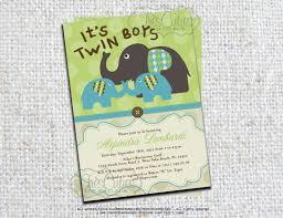 Baby Shower Invitation Cards U2013 Twin Elephant Baby Shower Invitations Home Decorating Interior