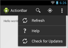 android menu menu android actionbar items as three dots stack overflow
