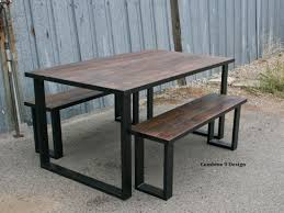 farm tables with benches hand crafted reclaimed wood dining set industrial steel rustic