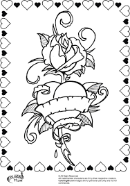 coloring pages roses hearts wings printable