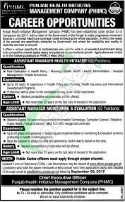 public health administration salary phimc jobs 2017 assistant manager punjab health initiative