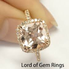 gold engagement rings cushion cut morganite with diamonds engagement ring in 14k gold claw