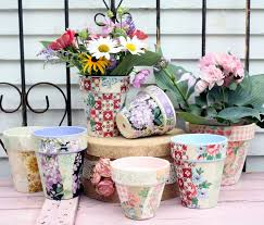 wallpaper craft pinterest vintage wallpaper covered flower pots by mitzi curi at www
