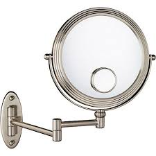 Wall Mounted Magnifying Mirror 10x 1x 10x W 15x Magnification Matte Nickel Wall Mount Beauty Mirror