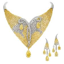 yellow diamond necklace images Les merveilles meche yellow and white diamond necklace and jpg__