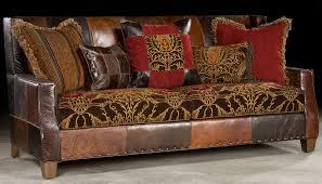 Luxury Leather Sofa Bold Print Fabric And Leather Sofa