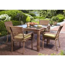 Patio Chairs With Cushions Martha Stewart Living Charlottetown Brown 5 Piece All Weather
