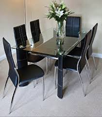 Montana Black Chrome And Clear Glass Dining Table And  Chairs - Chrome kitchen table