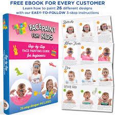 amazon com face paint kit with 30 stencils 12 color palette for