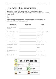 time conjunctions homework sheet by soppo08 teaching resources tes