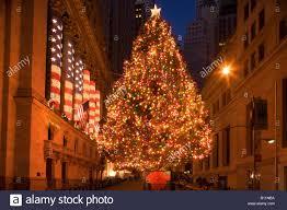 christmas tree lights broad street financial district manhattan