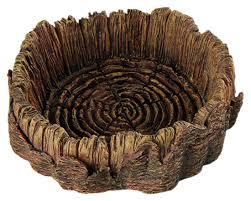 reptile tree trunk food water bowl dish decoration vivarium