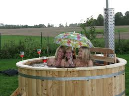 Wood Fired Bathtub Wood Fired Tub 2 Meter Siberian Larch Internal Furnace